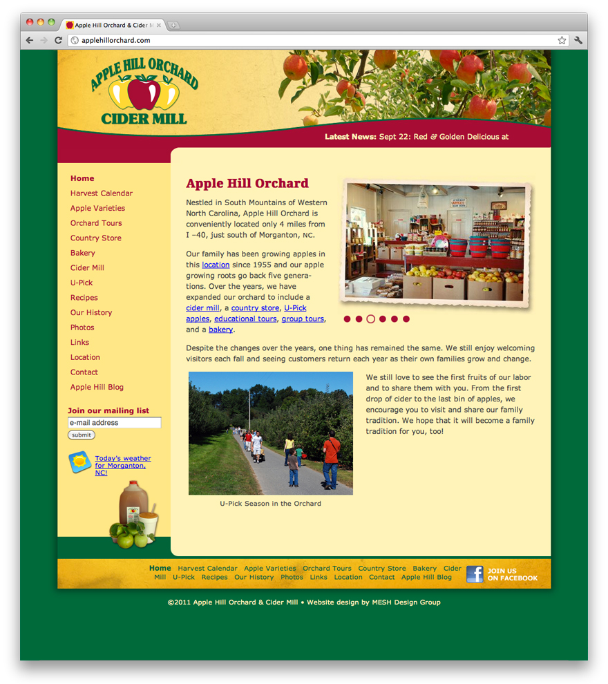 Website design for Apple Hill Orchard