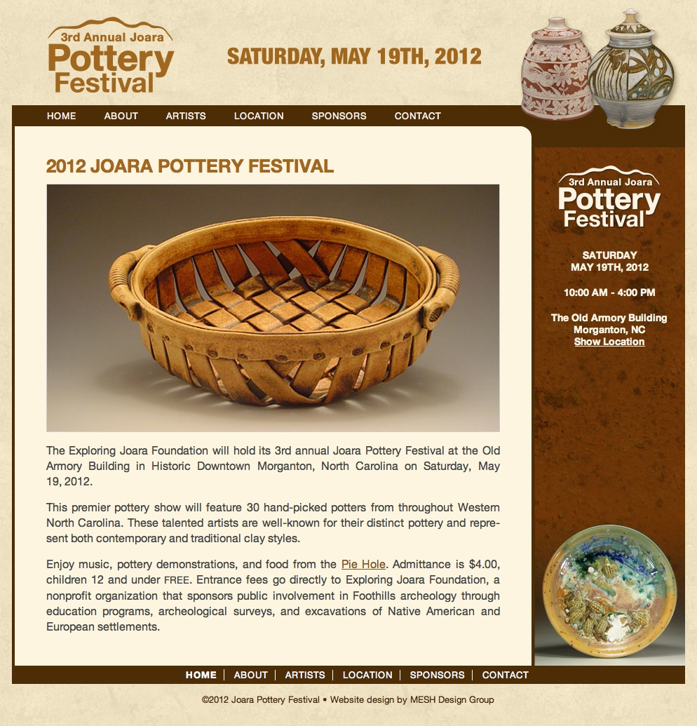 Website design for Joara Pottery Festival
