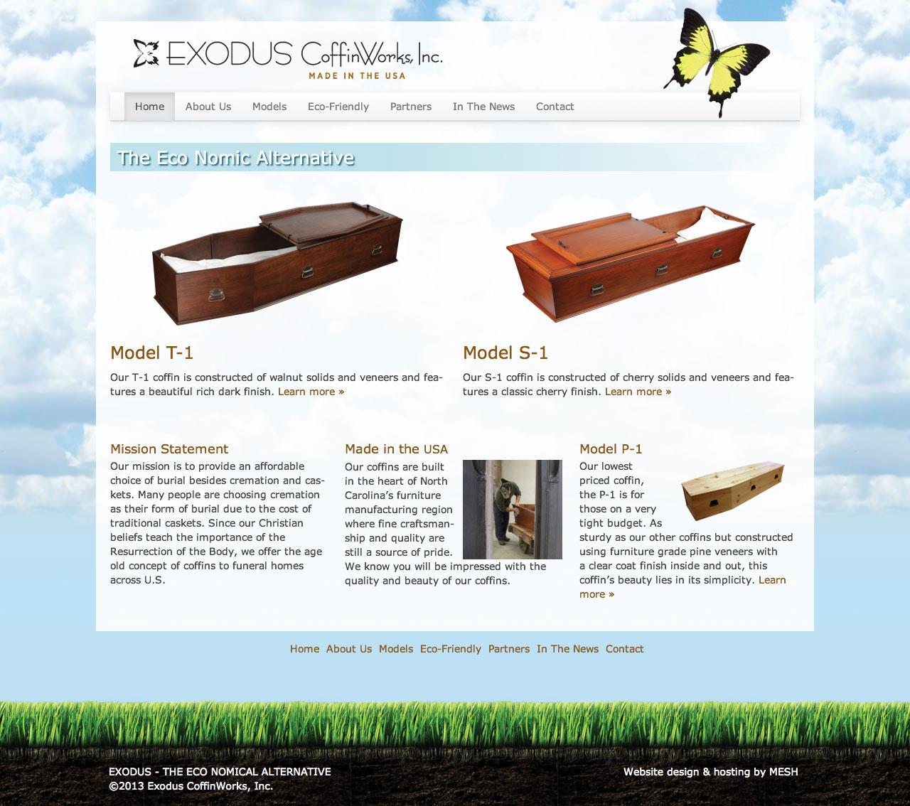 Website design for Exodus CoffinWorks, Inc.