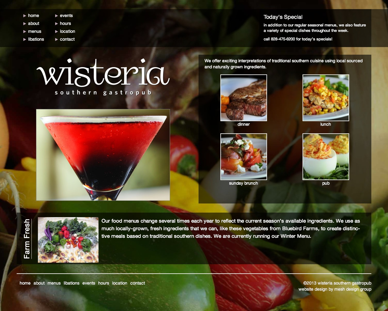 Website design for Wisteria Southern Gastropub