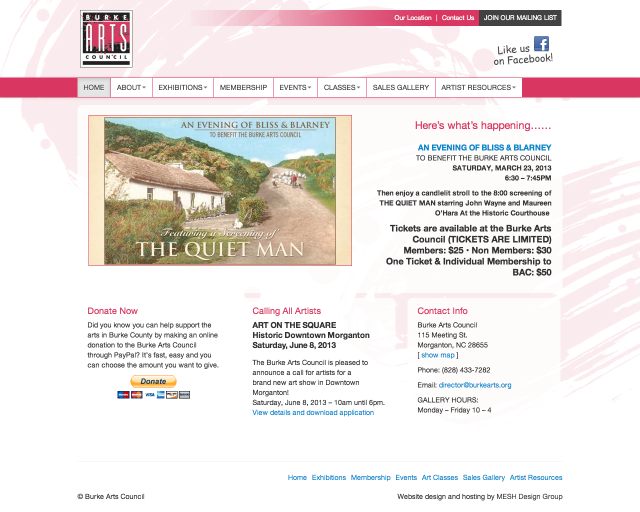 Website design for Burke Arts Council