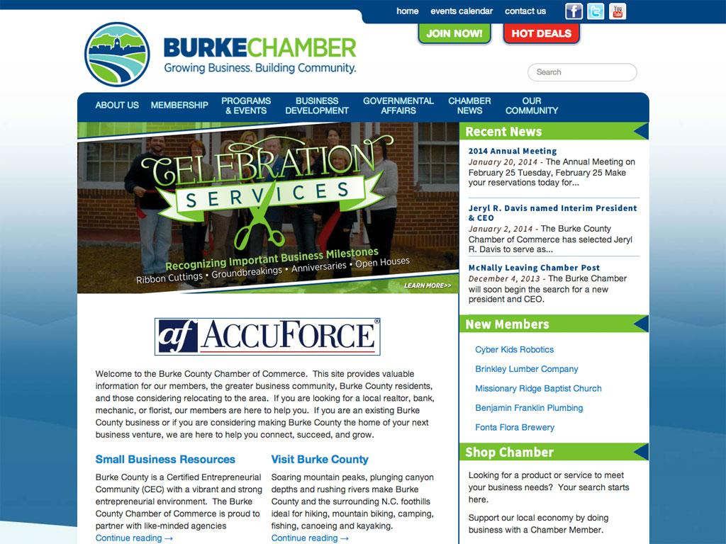 Website design for Burke County Chamber of Commerce