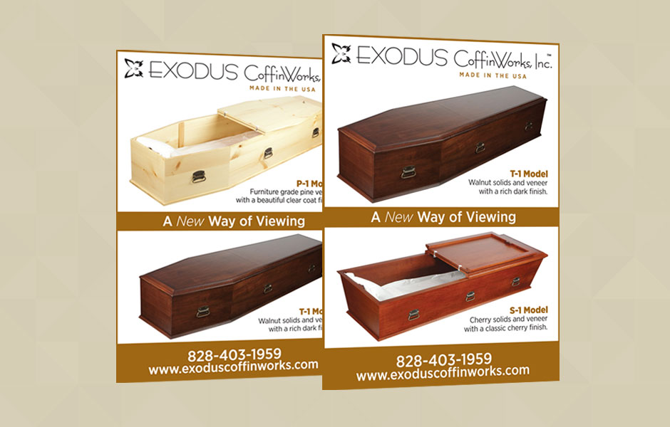 Print Ads for Exodus CoffinWorks, Inc.