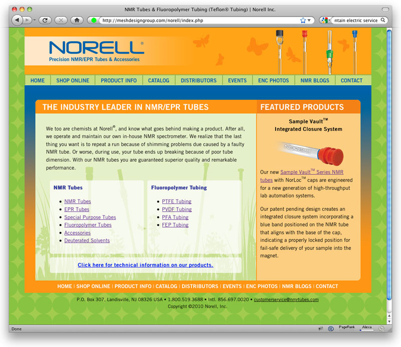 Website design fro Norell, Inc.