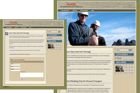 Website design for The American Adventure Service Corps