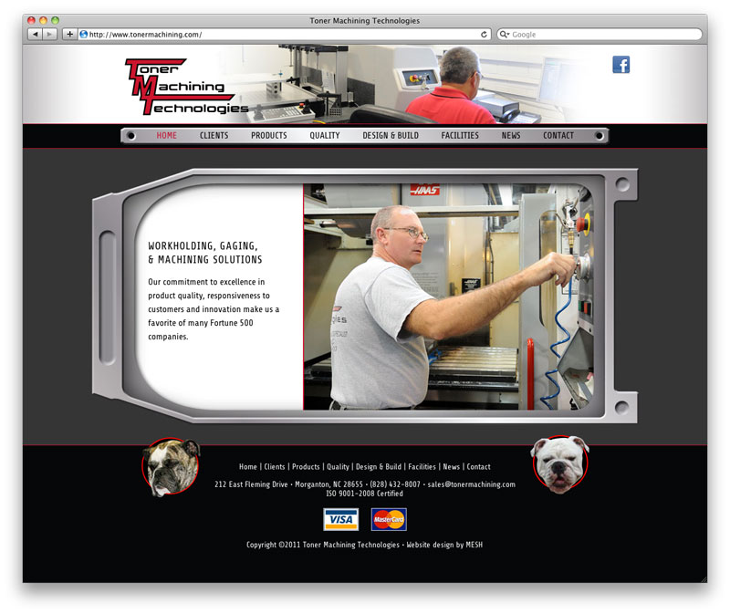 Website design for Toner Machining Technologies