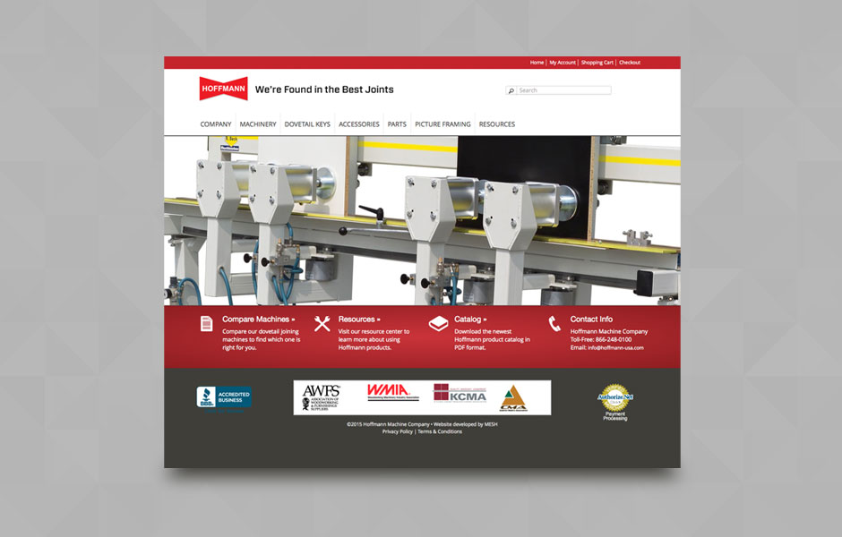 eCommerce website for Hoffmann Machine Company