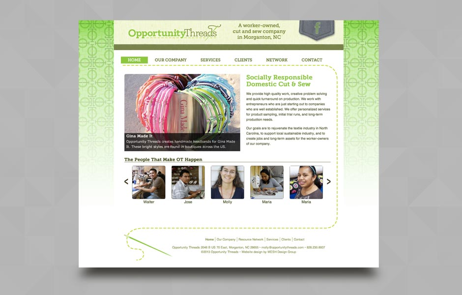 Website design for Opportunity Threads, Morganton, NC