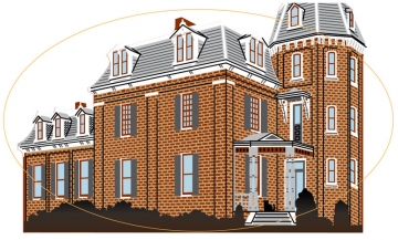 Full vectorized illustration of Morganton Saving Bank building